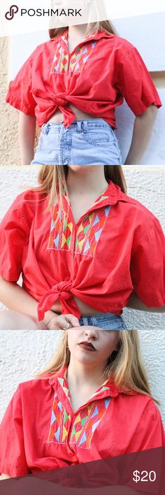 d35bf0f47e I just added this listing on Poshmark: Vintage Embroidered Red Button Up  Shirt. #