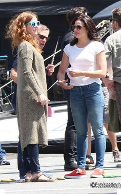 Rebecca & Lana on set (July 17, 2015)