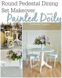 A gifted round pedestal dining table and two thrift store cross back chairs get unified as a set with chalk paint using layers of color, a doily stencil, and pretty upholstery fabric. | The Interior Frugalista
