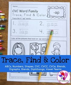 Easy No-Prep Trace Find & Color Printables for ABCs, Numbers, Shapes, CVC Word Family, CVCC Word Family, CVCe Word Family, Blends, Digraphs, Diphthongs, and Vowel Teams $ - 3Dinosaurs.com #printablesforkids #noprep #learningtoread #tpt #teacherspayteachers