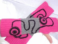 Wool Arm warmers, running sleeves, Upcycled fingerless gloves, made from 3 wool sweaters - pink, gray and black via Etsy. Keep Warm, Warm And Cozy, Fingerless Mittens, Big Girl Fashion, Pink Sweater, Wool Sweaters, Arm Warmers, Upcycle, Upcycling
