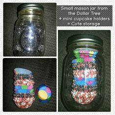 I thought if you can put your cupcake holders in a regular mason jar, why not put mini cupcake holders in a smaller mason jar.