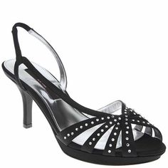 Enjoy your special event with style and grace in the Nina Claudie slingback sandal. This women's dress sandal has a glistening satin fabric upper adorned with rhinestones for brilliant sparkle. An elasticized strap ensures a snug, secure fit atop the lightly cushioned footbed. The Nina Claudie open-toe sandal is finished with a regenerated leather sole for an easy stride.