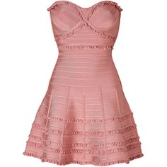 HERVÉ LÉGER Dress in Blush Powder (5.040 BRL) ❤ liked on Polyvore featuring dresses, vestidos, short dresses, robes, corset dress, short red dress, red mini dress, mini dress and strapless cocktail dresses