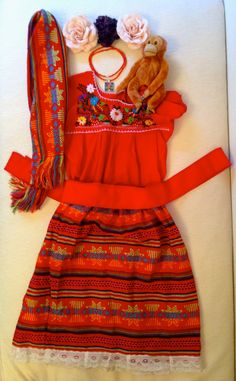 FRIDA KAHLO girls icon Halloween costume / dress up complete 9 piece Mexican peasant outfit.  Artistic, unique, just add unibrow! on Etsy, $149.00