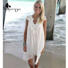 WomensDate 2017 New Style Summer Women Hot Burst European And American Trade Lace Stitching V-neck Sleeveless Dresses