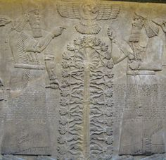 An Assyrian relief depicting the King and his retinue on either side of the Tree of Life.The winged disk of the god Shamash hovers above the scene.From the North West Palace at Nimrud, 865 BC.Safe and sound in The British Museum, London.
