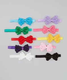 Another great find on #zulily! Rainbow Rosette Bow Headband Set by Under The Hooded Towels #zulilyfinds