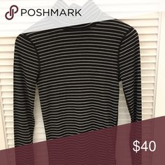 NWT Three Dots striped turtleneck NWT black and white striped turtleneck - so soft! Three Dots Tops