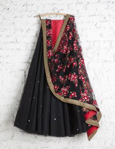 SwatiManish Lehengas SMF LEH 182 17 Black badla lehenga with floral threadwork dupatta coral sequin blouse