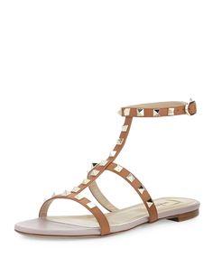 Valentino Rockstud Single-Wrap Gladiator Sandal, Cuir - Neiman Marcus