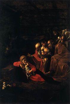 """Le Caravage - """"L'Adoration des bergers"""" (1609) - Huile sur toile, 314 × 211 cm - Musée régional de Messine, Italie."""