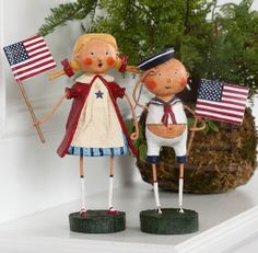 Aye Aye Adam & Gloria.  Whimsical patriotic figurines by Lori Mitchell. Cute for decorating for 4th of July. Must have!