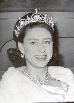 Margaret wearing the Lotus tiara, possibly in ther early 1960s