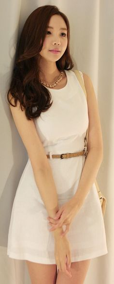 Luxe Asian Women Design Korean Model Fashion Style Swan belt White Dress