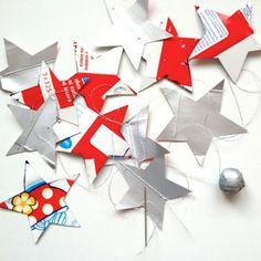 Sterne aus Rahmverpackungen