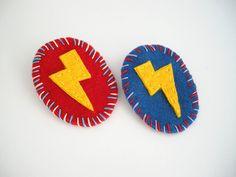 Thunder badge handmade super hero felt brooch by FishesMakeWishes, €12.00