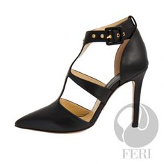 - Napa leather pump with stiletto heel - Napa leather sole and insole - Colour: Black - FERI logo hardware on sole and front of ankle - Heel height: inches Ankle Heels, Shoes Heels Boots, Stiletto Heels, Microsoft, Fashion Shoes, Fashion Accessories, Cream Shoes, Napa Leather, Selling On Pinterest