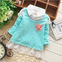 Girl's Voorjaar/Herfst Micro-elastisch Dun Lange Mouw T-shirts ( Katoen ) – EUR € 10.45