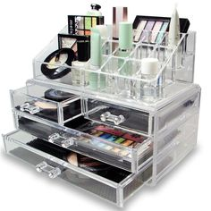 Organize and store you cosmetics and accessories with this two piece acrylic jewelry and cosmetic storage display set. It features removable mesh lining at the bottom of each drawer to protect them from scratches and accidental spills.