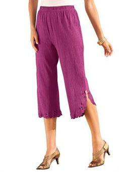 2e529199353ca Plus Size Crinkle Knit Gauze Capri Roamans matching Big shirt and Tank. 2x  Blue Violet