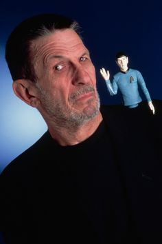 1995 Portrait of Leonard Nimoy with a doll of his Spock character. Photograph by Matthew Mendelsohn / Corbis