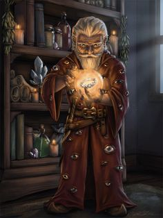 m Gnome Wizard Robes Crystal Ball Magic Books Potions Tower urban City [OC] Felix Fizzlebang by characterdrawing lg Dnd Wizard, Fantasy Wizard, Fantasy Races, High Fantasy, Fantasy Rpg, Medieval Fantasy, Dungeons And Dragons Characters, D D Characters, Fantasy Characters