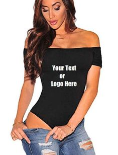 DG Custom Graphics is your premier site for custom designed apparel.    We can design your women off the shoulder top short sleeve party bodysuit romper   with your custom artwork, text or logo. Forward your artwork with one color. If additional colors are needed we can provide a custom quote.    Design can be put on front or back.    Forward us the following info.    1.Pick One Color (Choices: Blue, Black, White, Red) Additional colors available upon request and with a surcharge.  2.Upload…