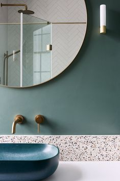 With a terrazzo backsplash, and detailing in the shower, a bespoke and some beautiful brass hardware, this is certainly one of our favourite bathrooms to date! Terrazzo, Bathroom Goals, Bathroom Colors, Family Bathroom, Small Bathroom, Family Room, Downstairs Toilet, Bathroom Interior Design, Bathroom Renovations