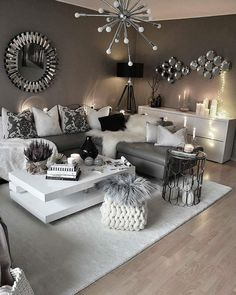 white living room and gray tricks how to arrange top ideas modern decoration 201 . salon blanc et gris astuces comment aménager top idées décoration moderne white living room and gray tricks how to arrange top ideas modern decoration 2018 Cozy Living Rooms, Living Room Grey, Living Room Interior, Home Living Room, Apartment Living, Home Interior Design, Living Room Designs, Black White And Grey Living Room, Monochromatic Living Room