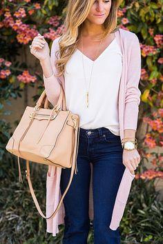 long pale pink cardigan + flared denim + rebecca minkoff satchel