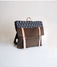 The Rolston Bag in Cove Green Brushed Denim with Grey Ikat Contrast | S H E L T E R