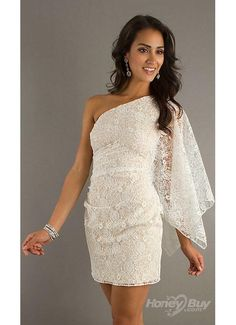 Cute Rehearsal Dinner Dress. A short ivory lace cocktail dress with an over the shoulder long sleeve.