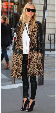 white blouse, leopard jacket and I love the shoes with the skinny pants.