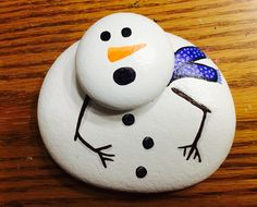 Melting snowman, Christmas, winter, melted snowman, painted rocks by Holly N.