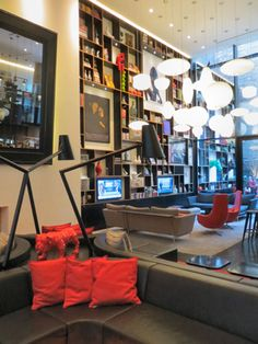 Citizen M New York..gallery like a living room room, comfortable seats