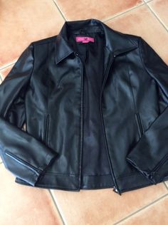 Living Doll Black Leather Look Jacket Like New Size M approx 10   Womens Ladies