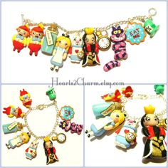 Disney's Alice In Wonderland inspired Polymer Clay Charm Bracelet. Handmade charm bracelet of Alice and memorable characters from the movie on Etsy, $53.00