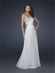 Column Strapless With Appliques and Pleatings Floor Length Chiffon Prom Dress PD1377 www.tidedresses.co.uk $179.0000