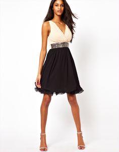 Little Mistress Wrap Front Embellished Waist Prom Dress