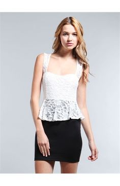 Love the lace top of this dress! Peplums are the best!!!!