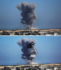 PCB - Artistas palestinos transformam fumaça das bombas israelenses em imagens poderosas