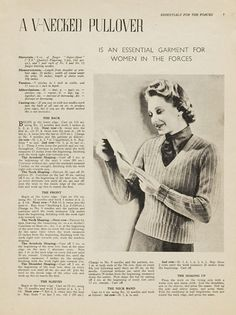 1940's Knitting - A V-necked Pullover A Womens Land Army / Land Girl Jumper