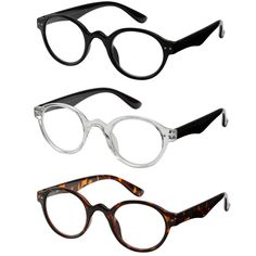 6fc5e736644 3 PACK Vintage Round Reading Glasses Spring Hinges Readers Mens Womens  +1.0~+4.0