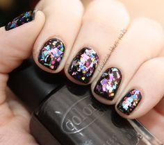 base of Color Club - Where's The Soiree?, my go-to black polish. Models Own Mirrorball Collection ;  Boogie Nights Hot Stuff Disco Inferno Freak Out! Dancing Queen