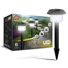 Die sind echt gut und leuchten lange (wenn genug Sonne da ist) -- Set von 6 LED Solarbetriebene Gartenleuchten; Perfektes Neutrales Design