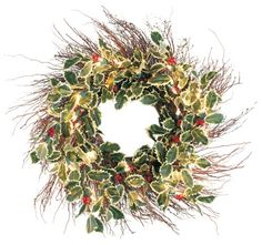 $130.00 GKI Bethlehem Lighting 20-Inch 35-Light Weatherproof Holly Wreath - The Holly Collection includes a lighted wreath and matching garland.  They are weatherproof--lit with clear mini lights.  The wreath and garland are so realistic you will want to use them inside and out! http://www.amazon.com/dp/B000ND0MI4/?tag=pin2wine-20