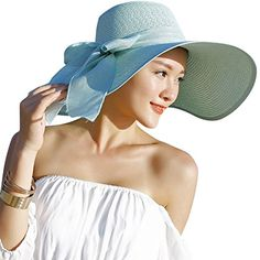 Lanzom Womens Big Bowknot Straw Hat Floppy Foldable Roll up Beach Cap Sun  Hat UPF 50+ (Beige) at Amazon Women s Clothing store  b30861432850