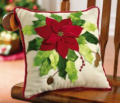 Poinsettia Bouquet Holiday Throw Pillow from Collections Etc.