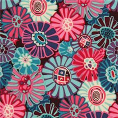 Alexander Henry flower fabric fuchsia-turquoise from the USA
